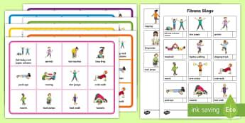 Fitness Bingo - Health, Sports and P.E, fitness, bingo