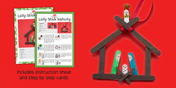 Lolly Stick Nativity Christmas Craft Instructions - christmas, pack