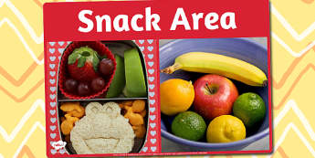 Snack Area Photo Sign - snack area, photo, sign, display, area