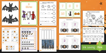 Halloween-Themed Junior and Senior Infants Numeracy Resource Pack - Maths, Oíche Shamhna, counting, October, 1-10, ten, one, ,Irish