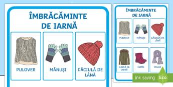 Îmbrăcăminte de iarnă Planșă - iarna, haine, îmbrăcăminte, comunicare, cum ne îmbrăcăm, vocabular pe tema iernii,Romanian-tra