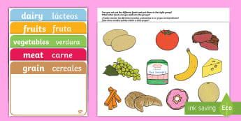 Food Group Sorting Activity English/Spanish  - food, food groups, matching cards, sorting cards, cards, flashcards, grouping, dairy, vegetable, fru