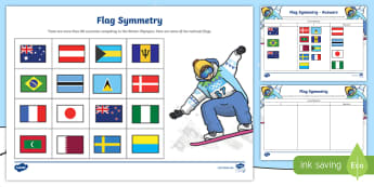 KS1 Winter Olympics Country Flag Symmetry Sorting Activity - Flags, Sort, Maths, Symmetry, Countries