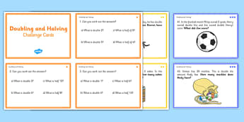 Doubling And Halving Challenge Cards - double, math, numeracy