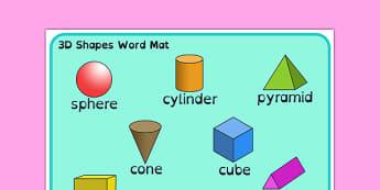 3D Shape Word Mat Dyslexia - 3d shape word mat with dyslexia font, 3d shape dyslexia mat, dyslexia shape image mat, sen font, sen shape mat, sen maths mat