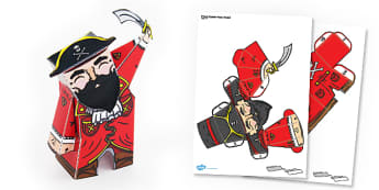 Pirate Captain Paper Model - paper, model, pirate, captain, craft