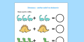 Akrusz Dodawanie z dinozaurami po polsku - matematyka, liczenie