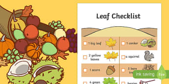 Leaf Hunt Checklist - checklist, autumn, leaf hunt, leaf, hunt, hunt checklist, leaf checklist, autumn leaf, autumn leaf hunt, autumn leaf hunt checklist