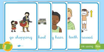 A2 Pósters de vocabulario: Rutinas diarias en inglés - Daily, routines, morning, Primero, segundo, de primaria, vocabulary, rutinas, flashcards, vocabulari