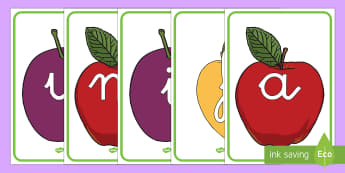 El abecedario de exposición: La fruta - lecto, leer, primeros sonidos, comida, letras, alfabeto,Spanish