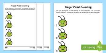 Caterpillar Finger Paint Counting Activity - Maths in ECE, maths, counting, fingers, paint, numbers