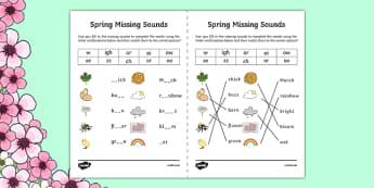 Spring Missing Sounds Worksheet - spring, phase 3, phases