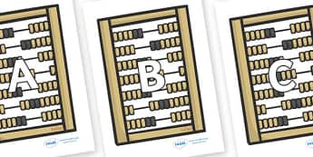A-Z Alphabet on Abacus - A-Z, A4, display, Alphabet frieze, Display letters, Letter posters, A-Z letters, Alphabet flashcards