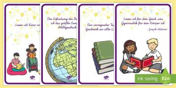 Lesen ist... Poster DIN A4 - Bücher, Lesen, Welttag des Buches, Zitate, books, World book day, reading, quotes,German