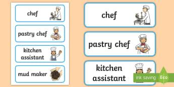 Mud Pie Kitchen Role Play Labels - mud pie, kitchen, role play