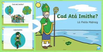 St. Patrick's Day 'Which One Is Missing?' PowerPoint Gaeilge - Saint Patrick, Seachtain na gaeilge, lá fhéile pádraig, cluiche kim, memory game, irish language, irish language week,