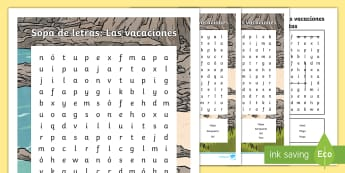 Holidays Differentiated Word Search - Spanish - Spanish, Vocabulary, KS2, holidays, word, search, differentiated, vacaciones, beach, playa, plane, a