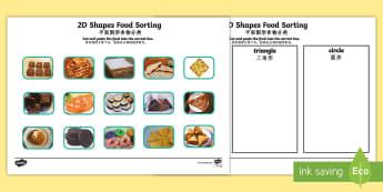 Food 2D Shape Sorting Activity - English/Mandarin Chinese - Food 2D Shape Sorting Activity - food, 2d, shape, sorting, activity,2Dshape,shape sorter, shaoe, EAL