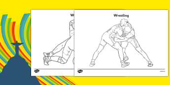 The Olympics Wrestling Colouring Sheets - wrestling, Olympics, Olympic Games, sports, Olympic, London, 2012, colouring, fine motor skills, poster, worksheet, vines, A4, display, activity, Olympic torch, medal, Olympic Rings, mascots, flame, compete,