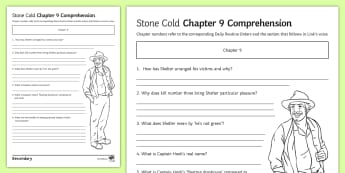 'Stone Cold' Chapter 9 Comprehension Activity Sheet - Swindells, Comprehension, Shelter, Link, Assess