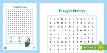 Thought Prompt Word Search Activity Sheet - behaviour, feelings, emotions, ambitions, future, young people, families, worksheet