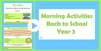 Year 3 Back to School Morning Activities PowerPoint 1 Week - australia, morning, activities