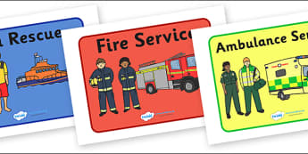 Emergency Services Display Posters - Emergency Services Primary Resources, fire service, ambulance, police, 999, 911, role play, Display Posters, A4, display, posters,