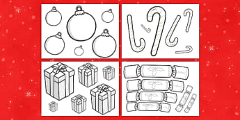 Christmas Size Ordering Objects Colouring Sheets - christmas, xmas, santa, colouring, fine motor skills, poster, worksheet, vines, A4, display, christmas meal, crackers, bells, toys, presents, reindeer, sleigh, baubles, tree lights, snow man