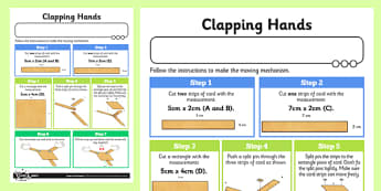 Making Levers and Linkages: Clapping Hands Activity Sheet - Go Green, Eco, recycle, warrior, environment, worksheet