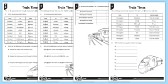 PlanIt Maths Y3 Measurement Train Times Home Learning Tasks