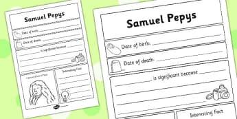 Samuel Pepys Significant Individual Writing Frame - Samuel, Pepys