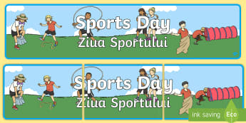 Sports Day Display Banner English/Romanian - Sports Day Display Banner - sports, pe, sport, header, display, abnner, eal