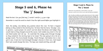 Northern Ireland Linguistic Phonics Stage 5 and 6, Phase 4a, 'j' Sound Text Worksheet / Activity Sheet  - NI, Irish, Sound Search, Investigation, Phoneme, Grapheme, Letter