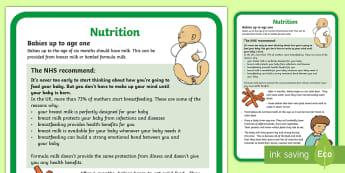 Infant Nutrition Poster - food, health, breastfeeding, bottle feeding, baby,Scottish