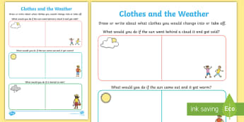 Clothes and the Weather Worksheet / Activity Sheet - rainy, windy, summer, winter, clothing, ACSSU004, prep, reception,Australia