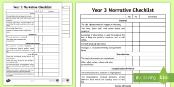 Year 3 Narrative Checklist - English curriculum, writing, creative writing, australian curriculum, assessment,Australia