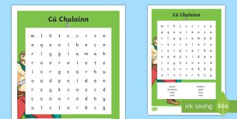 Cú Chulainn Word Search-Scottish - CfE Cú Chulainn, Wordsearch, hero, warrior, spelling, legends, cu chulainn, cuchulainn, setanta, Sc