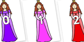 Numbers 0-100 on Sleeping Beauty - 0-100, foundation stage numeracy, Number recognition, Number flashcards, counting, number frieze, Display numbers, number posters