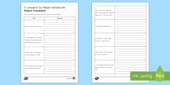 'Translation' Activity Sheet to Support Teaching on 'A Complaint' by William Wordsworth (HA) - GCSE Poetry, William Wordsworth, A Complaint, The Romantics, Coleridge, structure and form, language