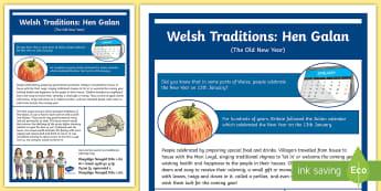 Hen Galan (Old New Year) Traditions in Wales A2 Display Poster - calennig, new year, welsh, wales, perllan, mari lwyd, fari lwyd, Hen Galan, Calan, blwyddyn newydd