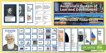 Australia's System of Law & Government Display Pack -  father of federation, Henry Parkes, colonisation, colonies, history, Edmund Barton, prime minister,