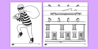 Burglar Colouring Sheets - burglar bill, burglar, colouring sheets, colour