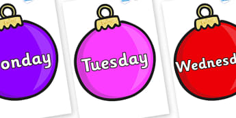 Days of the Week on Baubles (Plain) - Days of the Week, Weeks poster, week, display, poster, frieze, Days, Day, Monday, Tuesday, Wednesday, Thursday, Friday, Saturday, Sunday