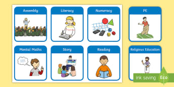 Northern Ireland KS1 Visual Timetable - subjects, curriculum, NI, topics, schedule, daily