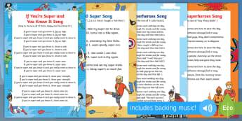 Superheroes Songs and Rhymes Resource Pack - Superheroes, superhero, superman, batman, spiderman, singing, songtime, super heroes