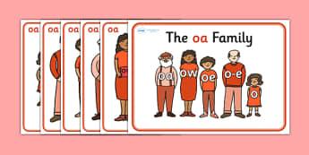 oa Sound Family Member Posters-oa, oa sound, sound families, oa sound family, sound posters, oa sound poster, poster, sounds, letters, words, literacy