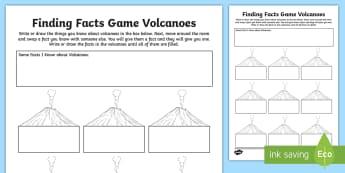 Volcano Finding Facts Activity Sheet - ACSSU096, Volcanoes, volcanic, eruption, lava,Australia, Worksheet