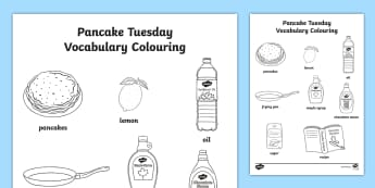 Pancake Tuesday Vocabulary Colouring Activity Sheet -  Pancake, Tuesday, worksheet, shrove, ash
