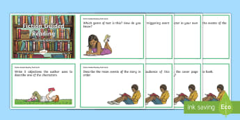 Fiction Guided Reading Task Cards - Comprehension, reading strategies, inference, literacy, English curriculum