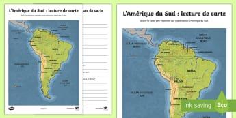 Feuille d'activités : La carte de l'Amérique du Sud - Geography, KS2, cycle 2, cycle 3, géographie, carte, map, lecture, reading, Amérique du Sud, South
